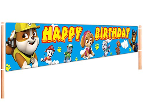 Large Paw Patrol Happy Birthday Banner   Paw Patrol Birthday Decorations   Paw Dog Patrol Birthday Party Supplies for Kids - 9.8 x 1.6FT