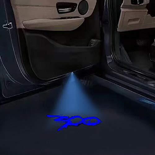 2pc Car Door Lights Ghost Shadow Projector Laser Logo light For Chrysler 300/C/ 300S 2005-2021 no fading color glass logo slides 300 logo (blue 300 logo)