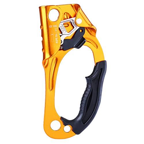 UBAYMAX Rock Climbing Ascender con Dentature,Maniglia di Risalita,Dispositivo di Outdoor,Attrezzatura da Arrampicata per 8mm-12mm Corda (Gold-Destra)