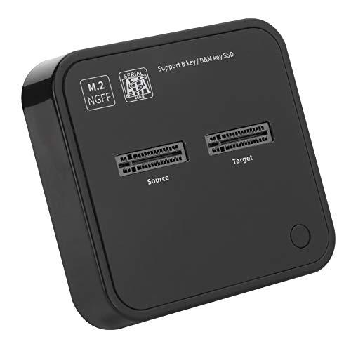 Dilwe Estaciones de Acoplamiento de Disco Duro Plug and Play, duplicador SSD M.2 con 2 bahías Compatible con Wins/OS X/Linux, estación de Acoplamiento SATA K3016SG1 100‑240V(EU)