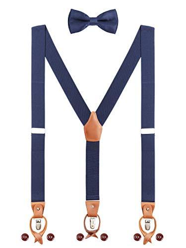 Herren Hosenträger Fliege Set 2 WAY TO WEAR 6 Leder Knopfloch 3 Clips Y-Form 3,5cm Breit Verlängerte Hosenträger für Körpergröße 160-200cm - Navy Blau