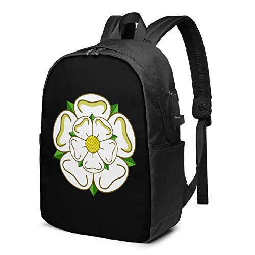 Yorkshire Rose County Flag Laptop Backpack with USB Charging Port, Business Bag, Bookbag | Fits Most 17 Inch Laptops and Tablets