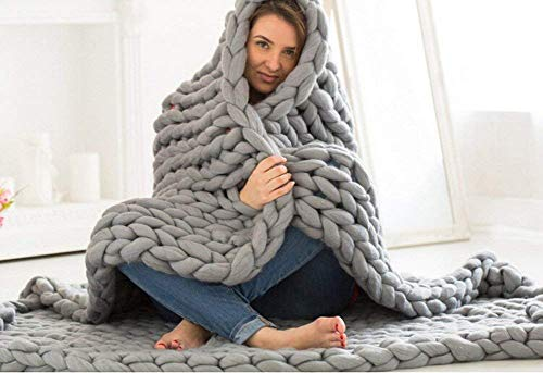 Rain Queen Handmade Giant Soft Thick Chunky Knitted Blanket Cozy Bed Throw, Fashion Sofa Blanket Yoga Mat Rug Home Decor Gift Gray, 120 * 150cm