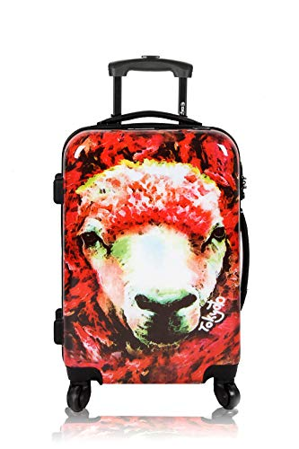 Maleta de Cabina Equipaje de Mano 55x40x20 Maleta Juvenil Trolley de Viaje Ryanair Easyjet Maleta de Viaje Rígida Red Sheep (Preparada para Cargar Móviles) TOKYOTO Luggage (Maleta + Cargador)
