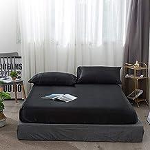 Mattress Protector Cover, Home Textile Satin Silk Bed Sheet Standard Imitate Silk Fitted Sheet King Queen Twin Full Mattre...