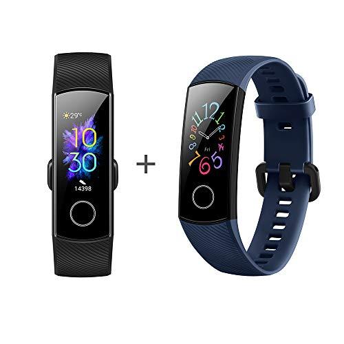 [2 Stück] Honor Band 5 Smart Fitness Armband 0,95 Zoll AMOLED-Display 5ATM wasserdichte (Schwarz + blau)