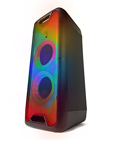 """Gemini Sound GLS-880 28"""" Inch Portable Wireless Bluetooth LED Light Show Party Speakers System USB Microphone/Guitar SD Card Input and Remote Control and Microphone"""