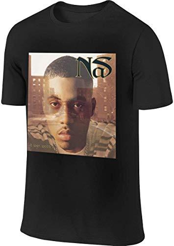 Men's T-Shirt NAS Rapper It was Written Round Neck Short Sleeve T Shirts XL,Black,Large
