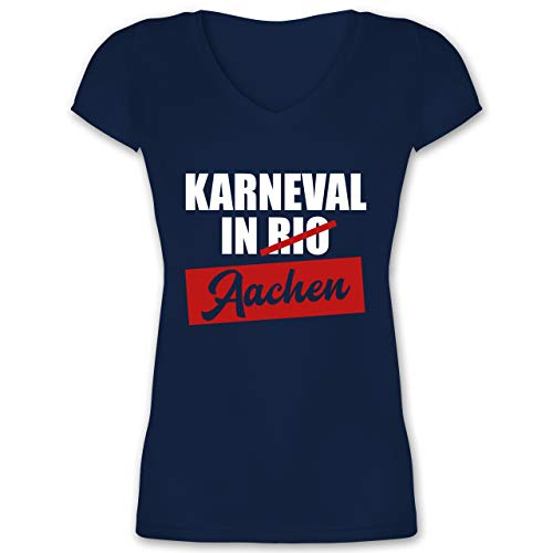 Karneval & Fasching - Karneval in Aachen - S - Dunkelblau - Geschenk - XO1525 - Damen T-Shirt mit V-Ausschnitt