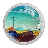 Perillas de cristal de paisaje para coches, de 1,18 pulgadas, tiradores de cajón de cocina, tiradores de armario, 4 unidades