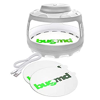 BugMD Flea Trap for Pest Control Indoor Dome Sticky Disc Pest Trapper for Bugs Fleas Mosquitos Nontoxic Odorless Eco-Friendly Family and Pet Safe 4 Light Modes with 2 Sticky Disc Traps