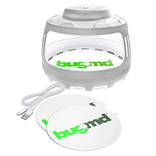 Best flea trap - BugMD Flea Trap for Pest Control Indoor Dome Sticky Disc, Pest Trapper for Bugs Fleas Mosquitos, Nontoxic Odorless Eco-Friendly Family and Pet Safe, 4 Light Modes, with 2 Sticky Disc Traps