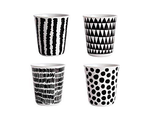 ASA Coppetta Becher Espresso Set, Porzellan, Schwarz/Weiß, 6.5 cm, 4-Einheiten