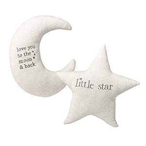 Lillian Rose White Star and Gray Moon Nursery Pillow Set
