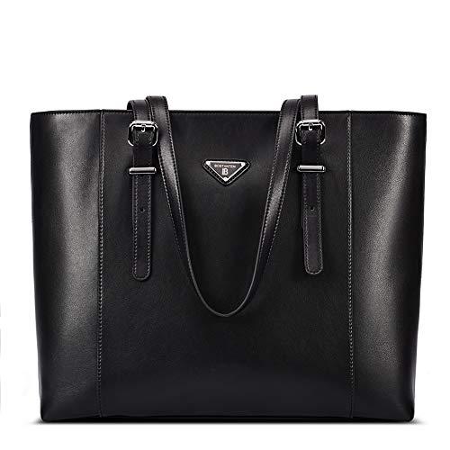 BOSTANTEN Damen Leder Handtaschen Groß Shopper 15 Zoll Laptoptasche Schultertasche Aktentasche für Büro Schwarz