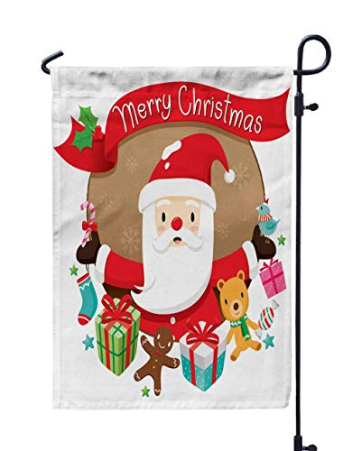 UIJDIAm Garden Flag Stand,Welcome Garden Flag Christmas Circle Banner and Decoration Merry Xmas Happy New Year Objects Animals Festive Celebrations 12X18 inches,Garden Flag Set,Orange Green