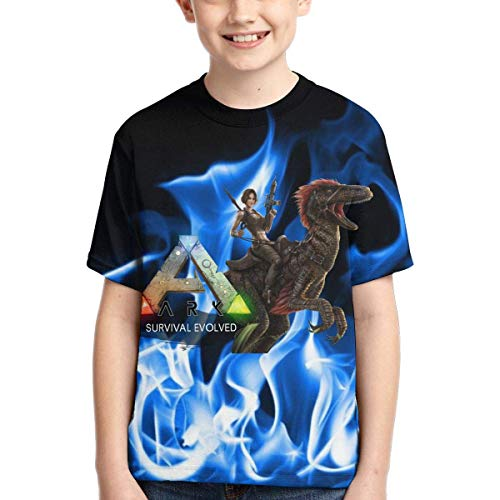 Rogerds Youth Teen Boy's Shirts ARK-Survival-Evolved Game Logo Tee T Shirt Short Sleeve Tshirt Fan Clothes for Teens Boys Girls