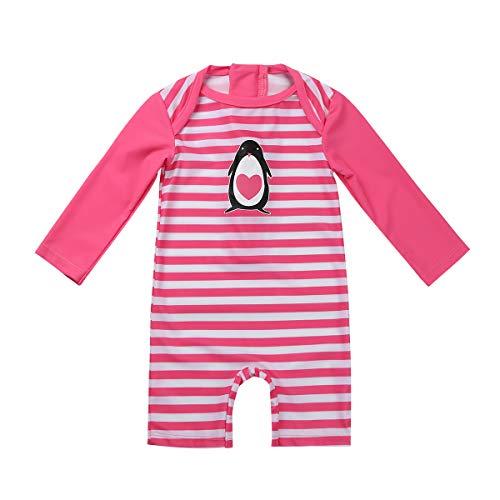 iiniim Baby Mädchen Bademode Einteiler Badeanzug mit Pinguin Druck UV-Schutz Streifen Langarm Bodysuit Overall Badebekleidung Dunkel Rosa 80-86/12-18 Monate