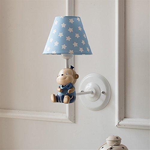 YU-K Moderne home muur kleine aapjes, blauwe lampwand voor kinderen licht slaapkamer trap hoogte 35 cm 29 cm lampbehuizing 18 cm hoog -13,5 cm basis moet 15 cm bedragen.