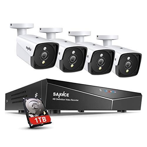 SANNCE POE CCTV Home Security Camera System 4CH XPOE NVR Recorder 1TB Hard...