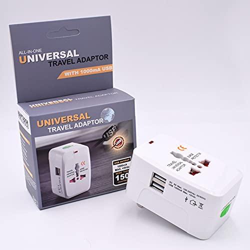 Adaptador de Viaje Universal - con 2 Puertos USB - Adaptador de Enchufe Internacional Pared a Global - Universal en más -150 países