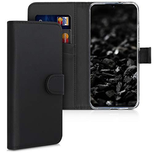 kwmobile Hülle kompatibel mit ZTE Axon 10 Pro - Kunstleder Wallet Hülle mit Kartenfächern Stand in Schwarz
