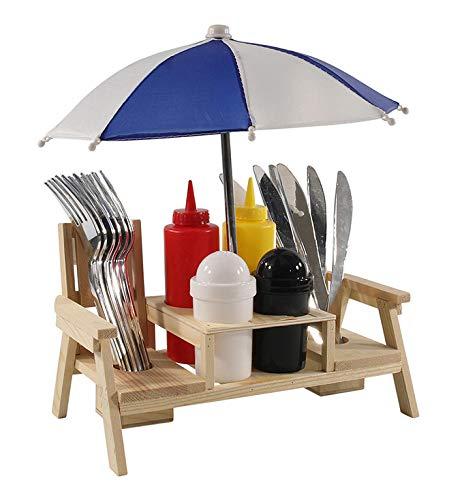 MIK Funshopping Menage-Set, Ständer für Senf & Ketchup-Spender, Salz- & Pfefferstreuer, Grillzubehör für die Grill-Party (Strandtisch mit Besteck und Sonnenschirm)