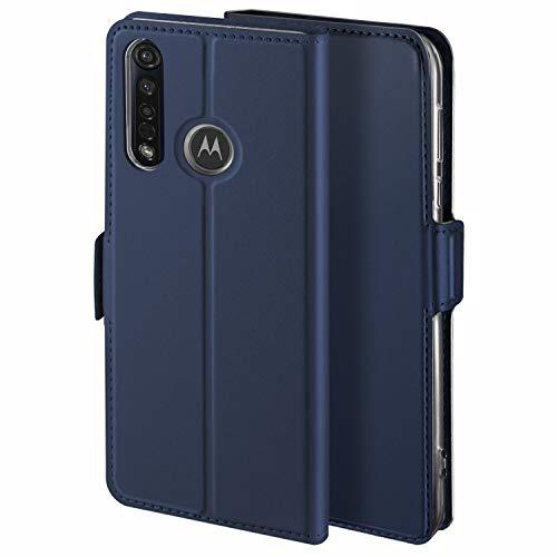 HoneyHülle für Handyhülle Motorola Moto G8 Plus Hülle Leder Premium Tasche Hülle für Motorola Moto G8 Plus, Schutzhüllen aus Klappetui mit Kreditkartenhaltern, Ständer, Magnetverschluss, Blau