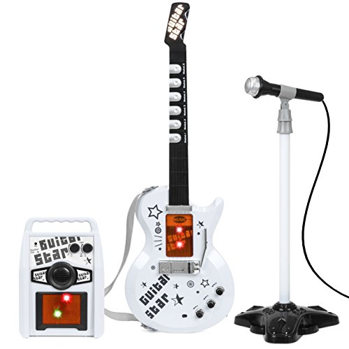 Kids Electric Rock Star Guitar & Microphone Karaoke Set Amplifier Musical...