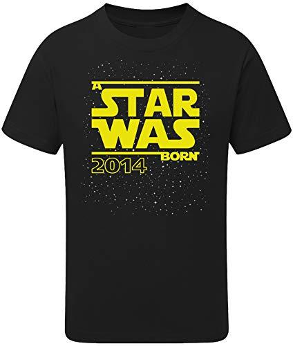 Geburtstags Shirt: Star was Born 6 Jahre - T-Shirt für Jungen und Mädchen - Geschenk-Idee zm 6. Geburtstag - Junge - Jahrgang 2014 - sechs-TER - Lustig Cool Witzig - Kind-er - Trikot Pyjama (110/116)