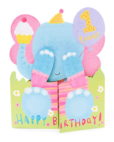 Geburtstagskarte zum 1. Geburtstag – niedliche Elefanten-Geburtstagskarte für 1 Jahr alt – Geschenkkarte für Baby – Geburtstagsgeschenke im Alter von 1 – 1 Spielzeug