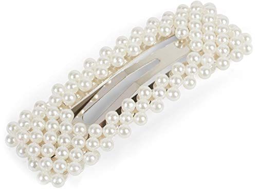 styleBREAKER barrette pour femmes rectangulaire avec perles rondes et fermeture par clip, barrette, pince à cheveux, chic parisien 04027006, couleur:Blanc
