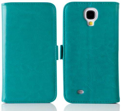 Cover Galaxy S4, JAMMYLIZARD [Luxury Wallet] Custodia a Libro Portafogli in Pelle per Samsung Galaxy S4, TURCHESE