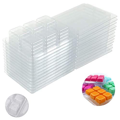 SUNSK Moldes de Cera para Derretir 6 cavidades de Plástico Moldes Transparente para Hacer Barra de Jabón Resina Chocolate Velas de Jabón 20 piezas