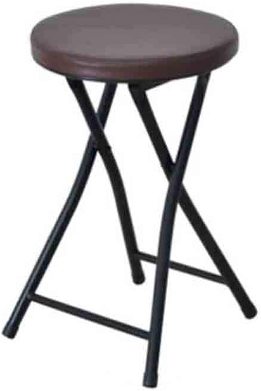 YCSD Round Shaped Compact Folding Stool with Chrome Frame, 49x 30 X 30 cm - 4 colors (color   Coffee color)