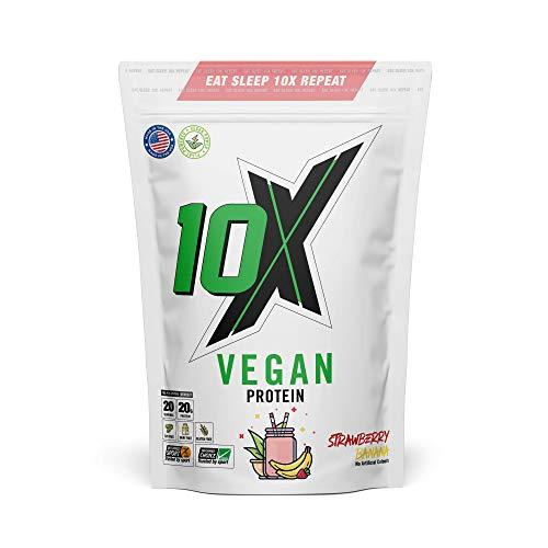 10 x Proteine Vegane Atletiche, Senza noci, Senza zucchero, A base vegetale, Senza latticini, Senza glutine, Vari sapori, 580 g (Fragola Banana)