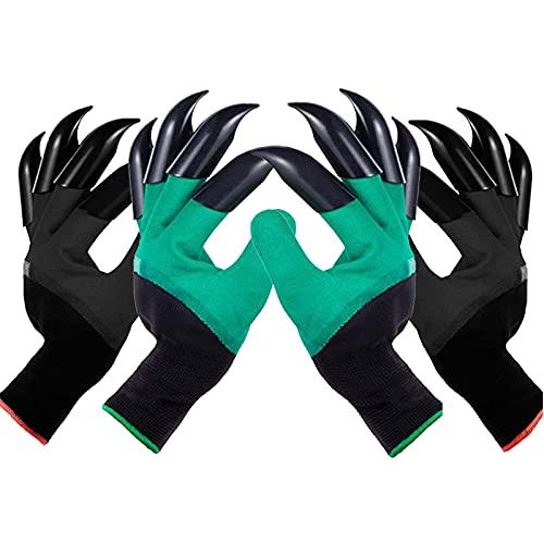 DINGZHAO 2 Paar Garten Handschuhe, Pflanz-und Arbeitshandschuhe Garten Gartenarbeit Handschuhe mit Graben Klauen, Gartenhandschuhe für Haushalt und Garten Pflanz Werkzeug Handschuhe (Doppelklaue)