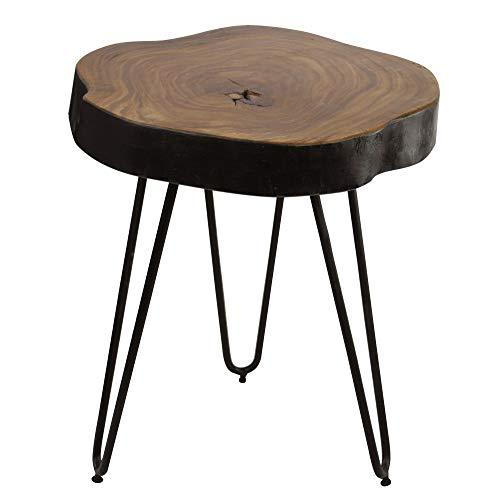 FineBuy Tavolino Legno Massello Sheesham Metallo 35 x 46 x 35 cm   Tavolo Soggiorno Country Stile   Tavolo Decorativo con Gambe in Metallo   Tavolino da caffè Fetta Tronco D'albero