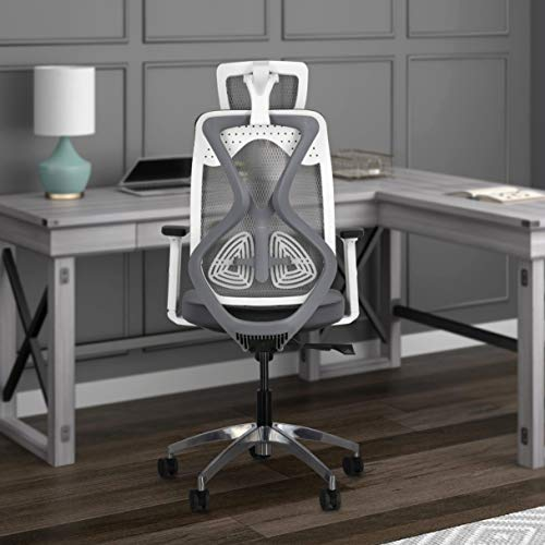 JD9 Oyster High Back Mesh Office/Study Chair with Cushion Seat, Multi-Lock Mechanism, Seat Slider & Adjustable Arms (White & Grey)