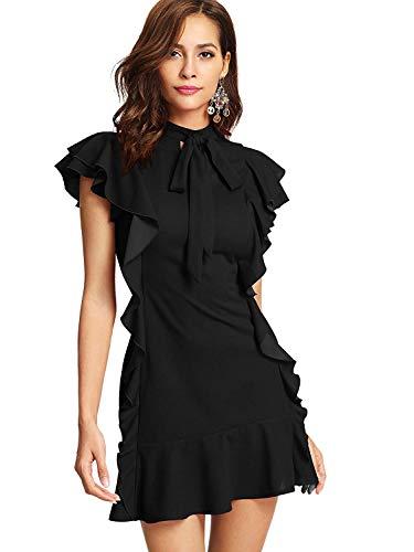 Floerns Women's Tie Neck Short Sleeve Ruffle Hem Cocktail Party Dress Black L