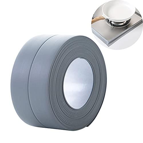 Cinta de sellado impermeable, cinta de sellado impermeable y a prueba de aceite para cocina casera, adecuada para cocina, baño, bañera, ducha, piso, pared, protección de bordes (gris)