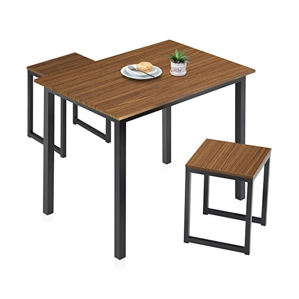 HOMURY Modern Wood 3 Piece Dining Set Studio Collection Soho Dining Table with Two Stools Home Kitchen Breakfast Table