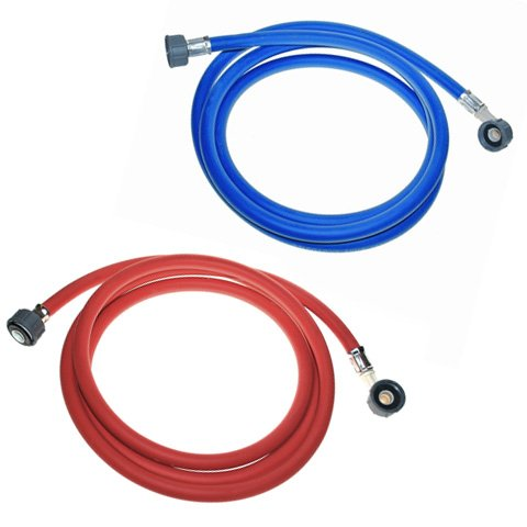 Electruepart Tubos de agua caliente y fría para lavadora (1,5 m), color rojo y azul