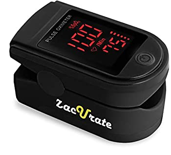 Zacurate Pro Series 500DL Fingertip Pulse Oximeter Blood Oxygen Saturation Monitor with Silicon Cover Batteries and Lanyard  Royal Black