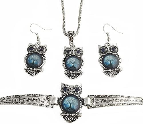 Vintage Blue Eyes Owl Earring Bracelet Necklace Set Plant Tree Sliver Alloy Animal Jewelry for Women Girls