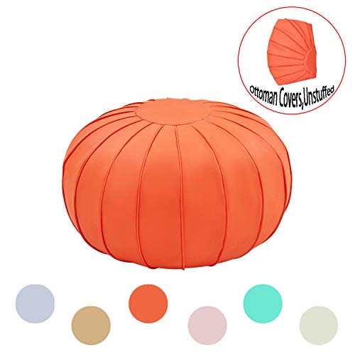 Comfortland Decorative Round Pouf Foot Stool for Christmas Storage Ottoman Seat Unstuffed Bean Bag Floor Chair Small Foot Rest for Living Room Bedroom Kids Room and Wedding Orange Red