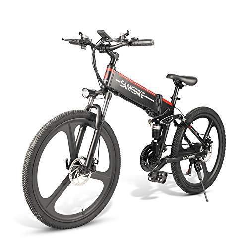 Tazzaka Bicicleta Eléctrica Plegable 350W/500W Bicicleta de Montaña e-Bike 26 Pulgadas Aluminio 48V 10AH Batería de Litio Shimano 21 Velocidades Freno de Disco Medidor LCD [EU Stock]