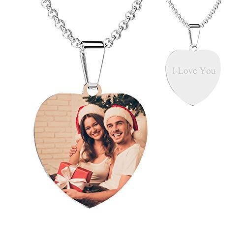 Collar de imagen personalizado Collar de texto de foto personalizado grabado cualquier nombre personalizado(Acero de titanio 18'(45cm)-Adult)
