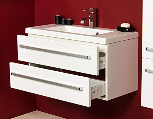 Quentis Badmöbel Genua, Breite 80/ Tiefe 39 cm, weiß glänzend, 2 Schubladen, Softeinzug, Metallgriffe, Waschbeckenunterschrank aufgebaut