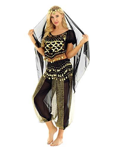 iiniim 4tlg.Bauchtanz Kostüm Damen Orientalische Indische Bauchtänzerin Verkleidung Halloween Fasching Karneval Party Tanzkleidung Schwarz Einheitsgröße